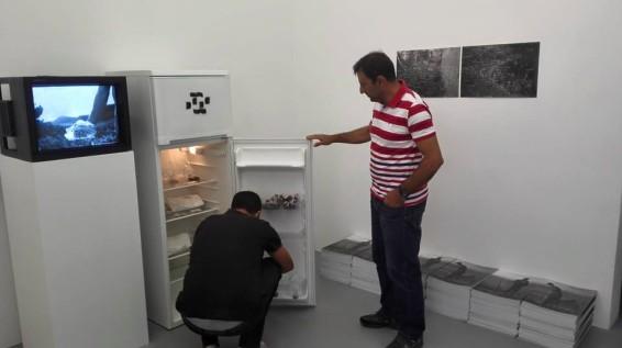 Juan Pablo Macias istalla BAS con Filippo Racciatti, in occasione della mostra WORD NOT TEXT NOT LAW, Galerie Michel Rein, Parigi